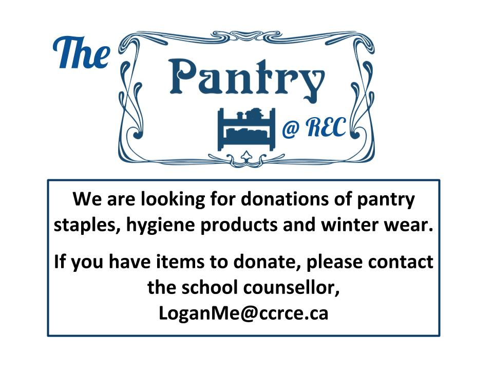 The Pantry at REC is looking for donations of pantry staples, hygiene products and winter wear.